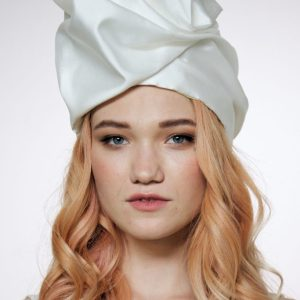 Silk turban hat hijab white Ivory tall