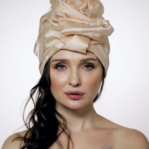 Creme brulee silk organza turban hat hijab with a big Pearl bead