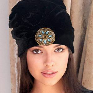 small embroidery black velvet turban hat hijab