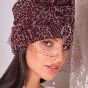 Turban hat hijab of leopard jersey with veil