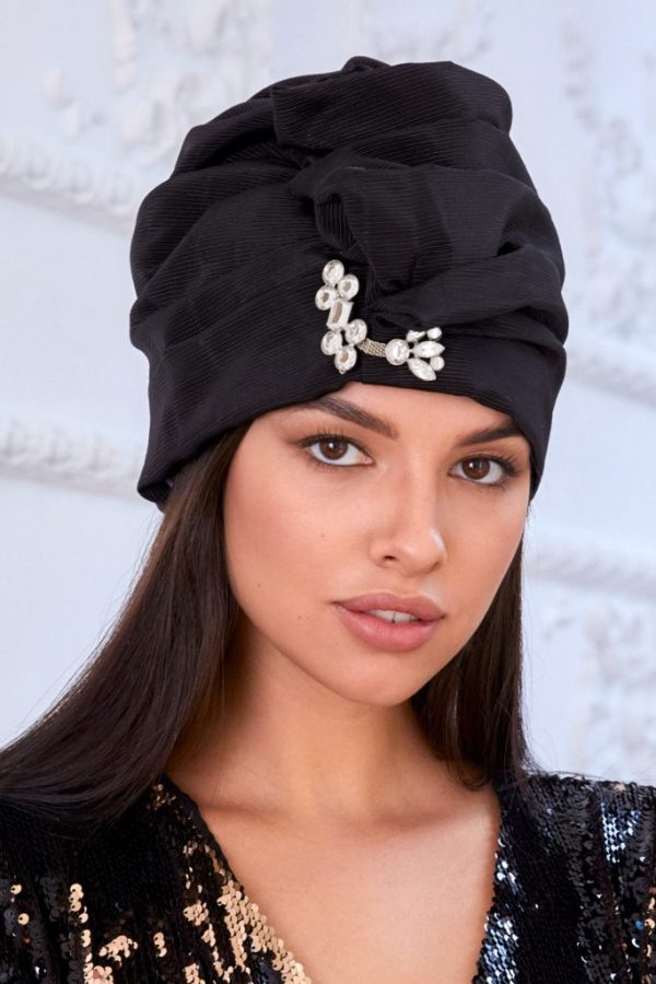 Turban hat hijab of black viscose with crystals