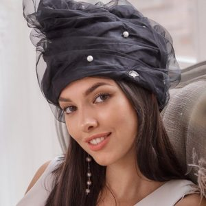 Turban hat hijab of silk taffeta with pearls and fatin
