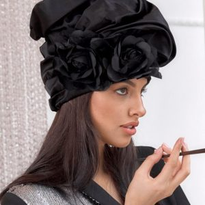 turban hat hijab with black roses