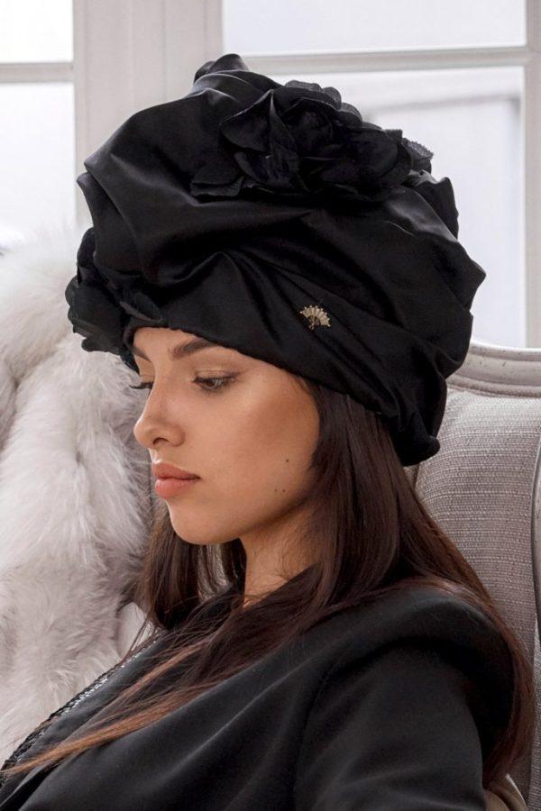 turban hat hijab with black roses