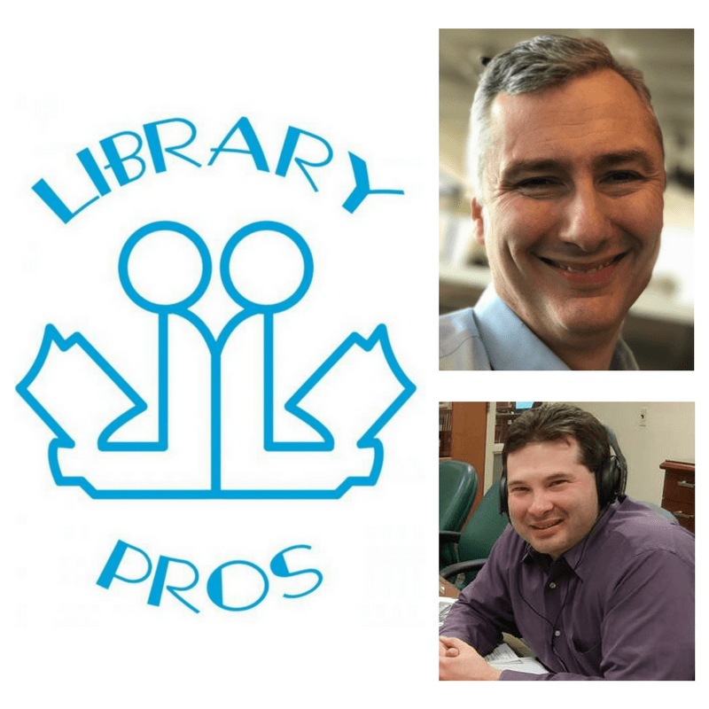 Grid with three images. First image is a blue logo with an outline of two people reading books with their backs against each other. Second photo is of a man wearing a blue shirt with grey hair smiling at the camera. Third photo is a man sitting a table wearing a purple shirt. He has brown hair, is wearing headphones and is smiling at the camera