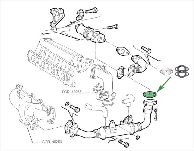Schemat montaży zaślepki EGR Multijet JTD Fiat Opel CDTI