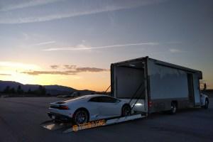 Turbo J Inc Enclosed Auto Transporter loading Lamborghini Huracan