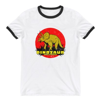 Retro Triceratops Ringer T-Shirt by Turbo Volcano (White)