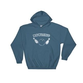 Retro Bowling Hoodie Vintage Style Sweatshirt (blue)