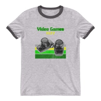 Video Games 1977 Ringer T-Shirt by Turbo Volcano (Grey)