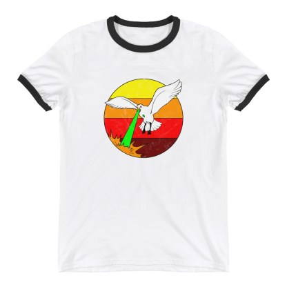 Retro Laser Seagull T-Shirt 1980s Style Ringer Tee (white)