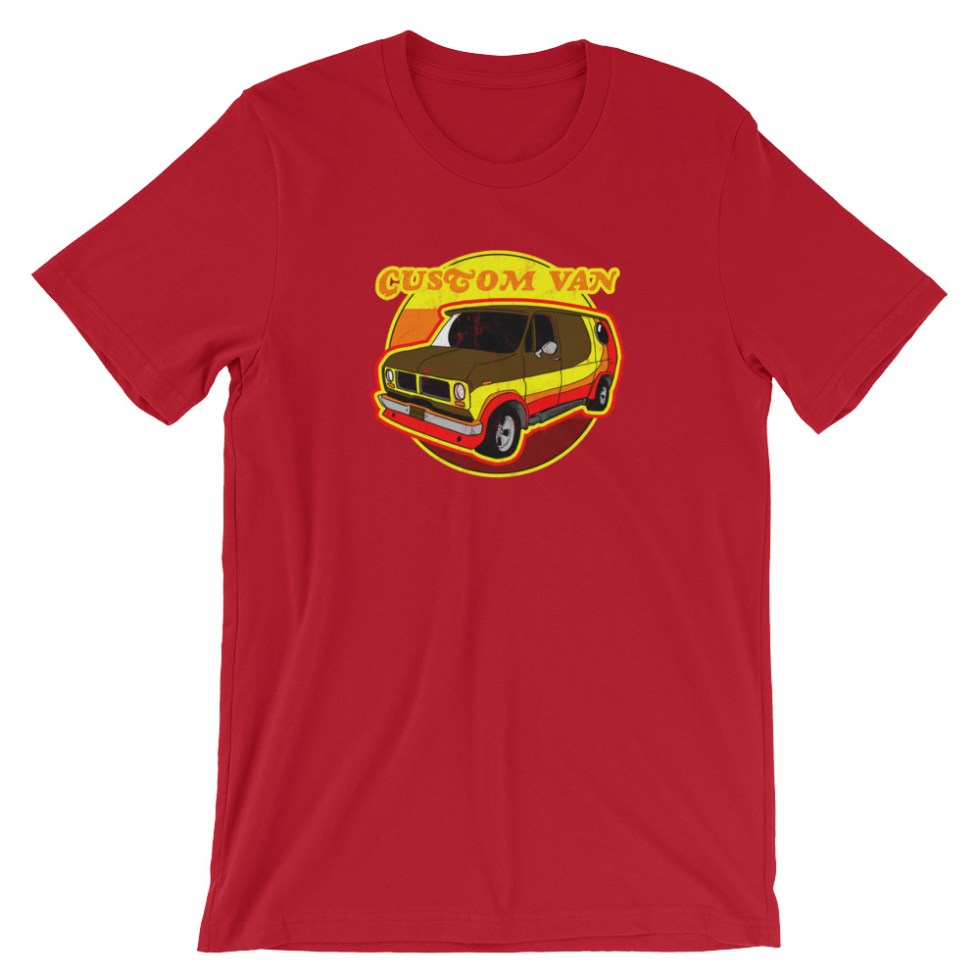 Retro 70s Custom Van T-Shirt by Turbo Volcano (Red)