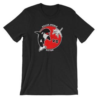 Killer Whale Vs Kitten T-Shirt (black)