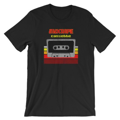 Retro Mixtape Design with 70s Distressed Style T-Shirt (black)