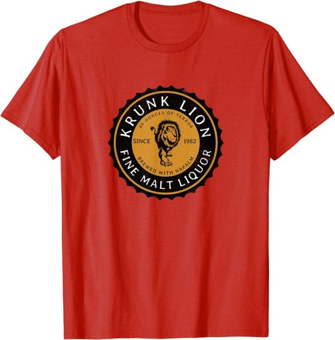 "Retro Krunk Lion Fine Malt Liquor ""Brewed with Napalm"" T-Shirt"
