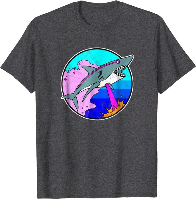 Laser Shark T-Shirt Funny Retro Shark Shirt