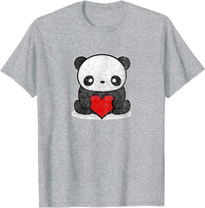 Retro Cute Kawaii Panda Holding Heart Vintage T-Shirt