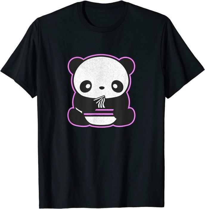 Retro Kawaii Panda Eating Ramen Noodles by Turbo Volcano T-Shirt