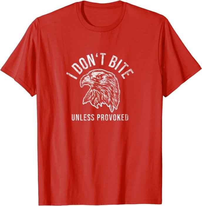 "Retro ""I Don't Bite Unless Provoked"" Funny Eagle T-Shirt"