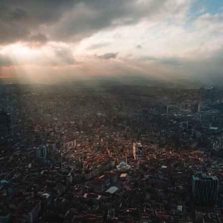 aerial shot of city