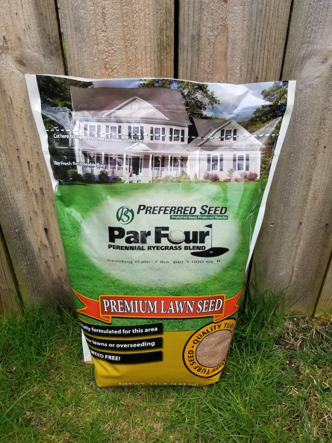 a bag of Par Four Perennial grass seed