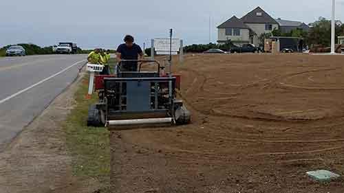 gas powered Warner track turf installer