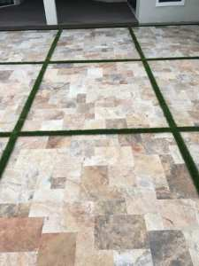 Pool deck strips turf