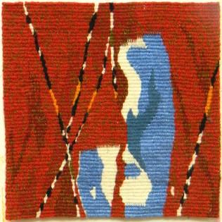 Wool & linen weft & linen warp. 8.5 inches x 8.5 inches.