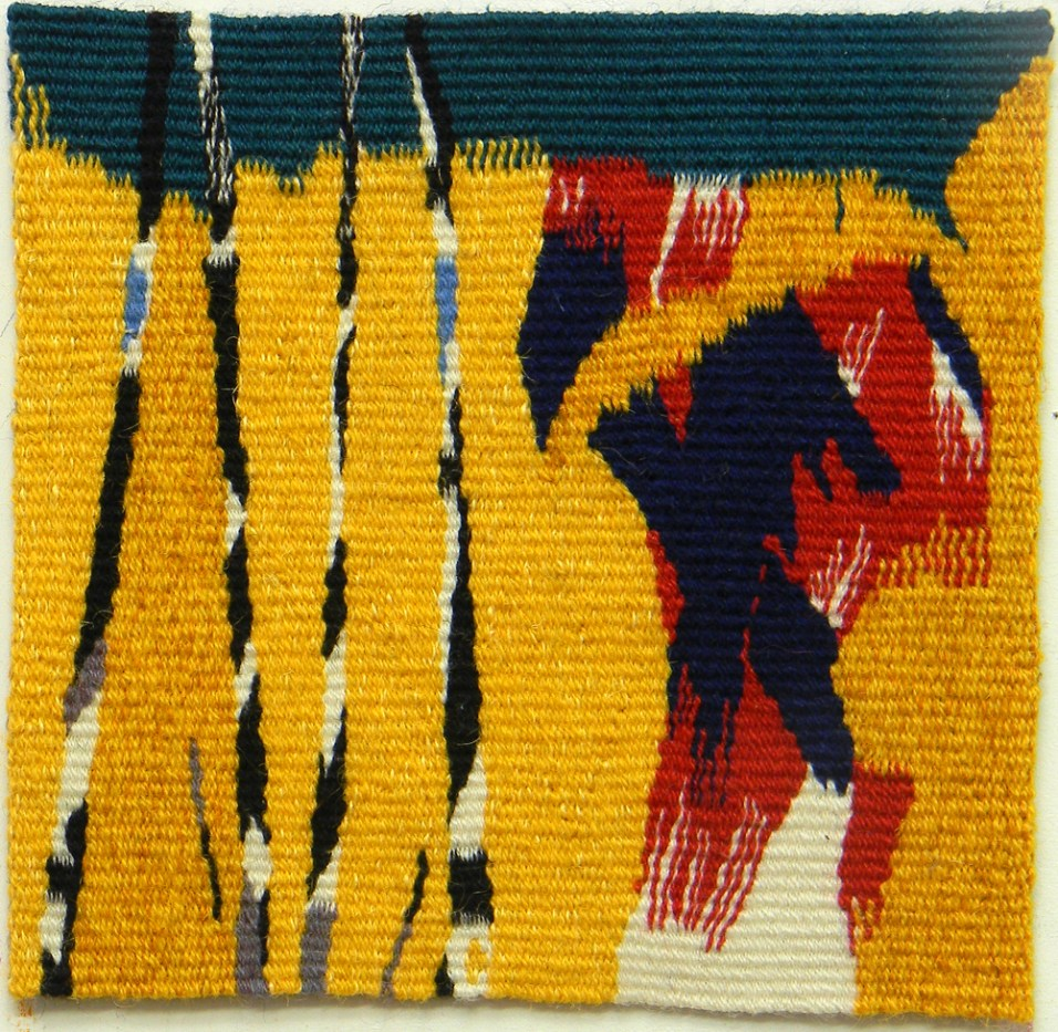Wool weft & linen warp. 8.5 inches x 8.5 inches.