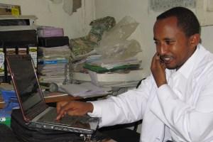 Dr Endale in Ethiopia enjoying his new laptop