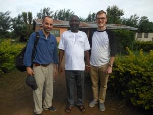 Andrew Ellison and Greg Imberty with Headteacher of ICSS Tetrefu.