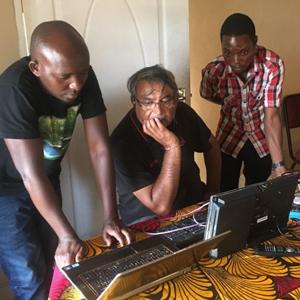 Shanti Bardwha with the CYD tech team in Malawi