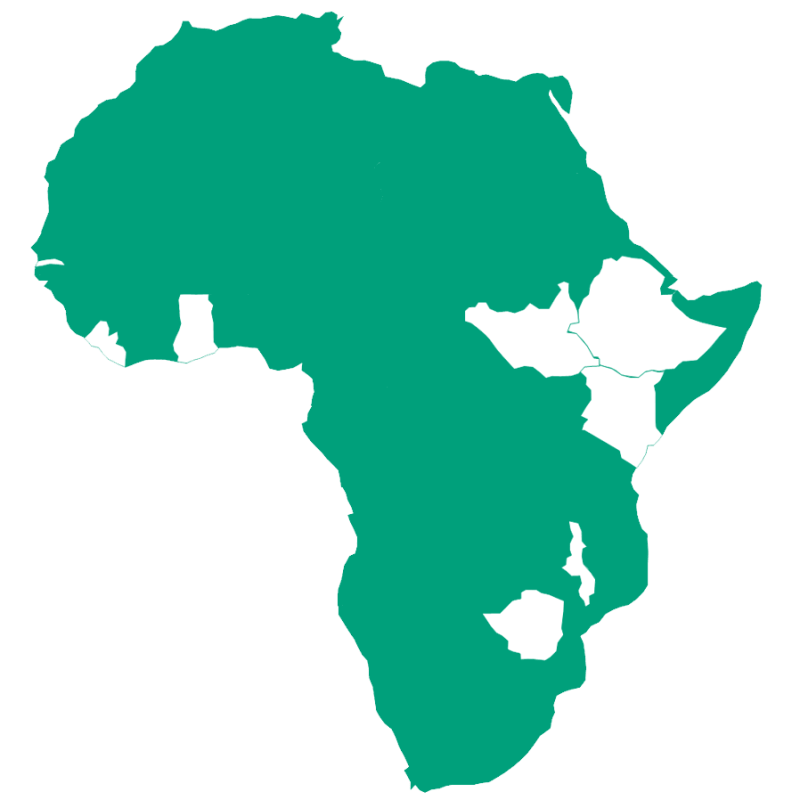 Map of Africa to show the countries The Turing Trust works in