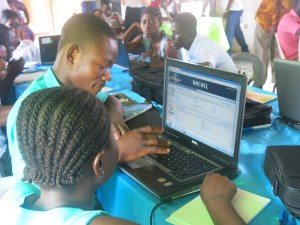 Students learning new skills at training week in Ghana