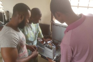 Computer maintenance and repair workshop, Ghana