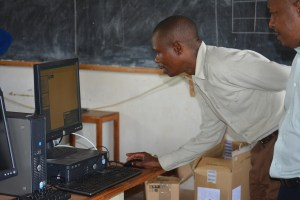 Teacher using the new computers at Lidoma Private secondary School