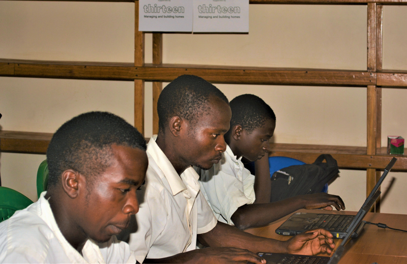 Students in computer lab at LIvingstonia Community day Secondary School, Malawi