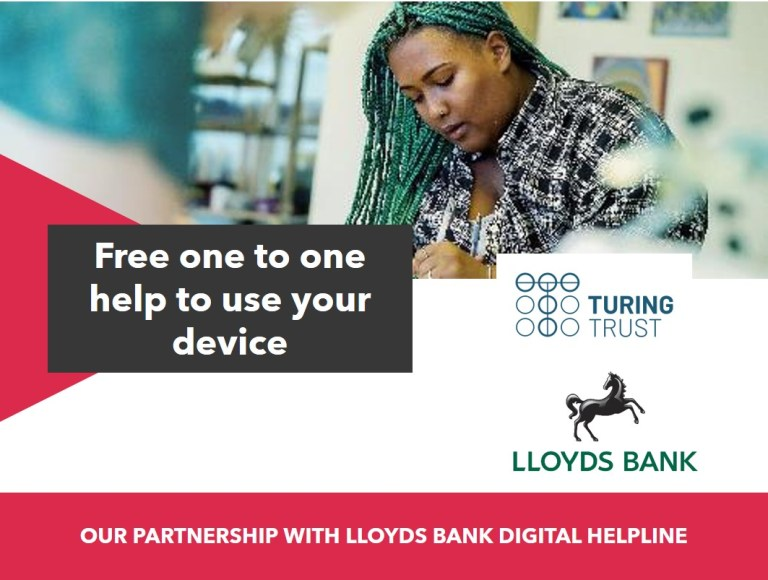 Graphic announcing our partnership with Lloyds Bank Digital Helpline