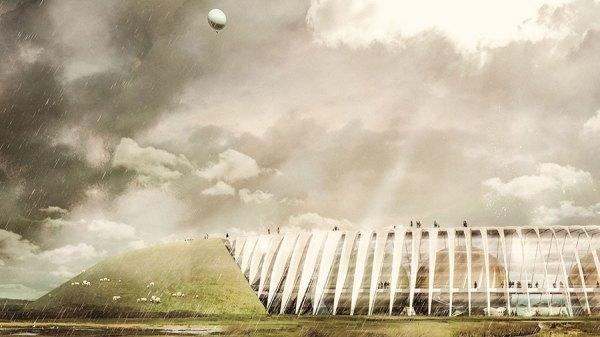 Oplevelsescenteret vil strække sig over et areal på 50 ha og bestå af en ringvold omkring en stor hovedbygning. Illustration: Thøgersen og Stouby ApS
