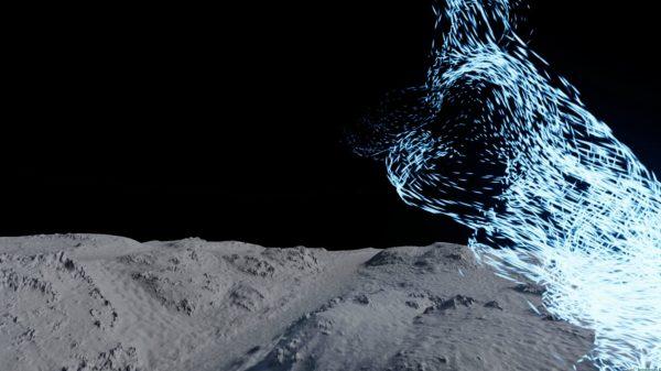 Screenshot: visualisering af vindens bevægelser i klitlandskabet ved Lyngvig Fyr. (Foto: Ringkøbing-Skjern Kommune)