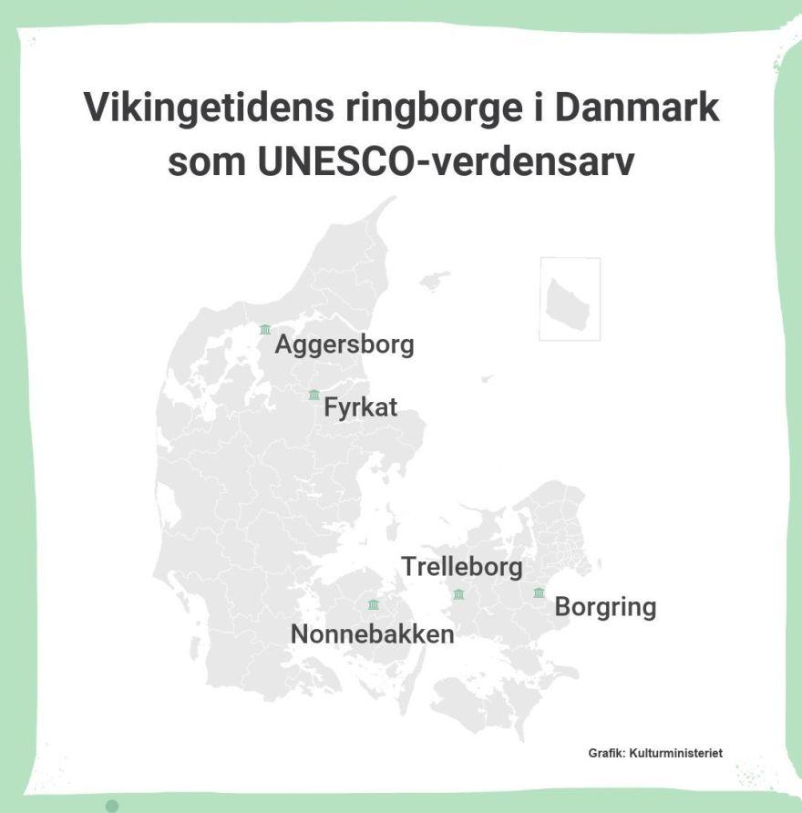 Landkort over vikingetidens ringborge i Danmark. (Grafik: Kulturministeriet)