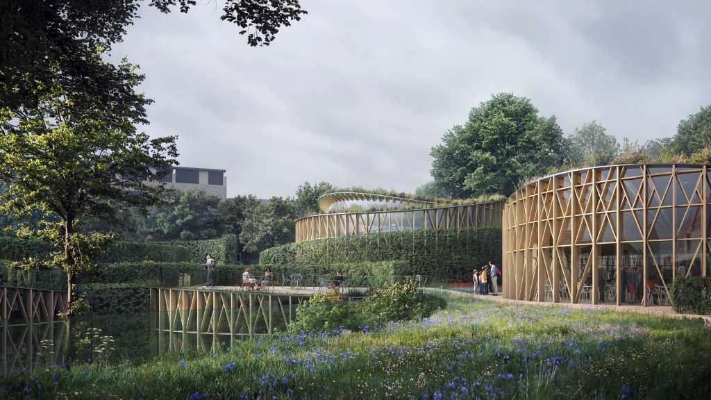 Computerrendering af det nye H.C. Andersens Hus, der åbner sommeren 2021 i Odense. (Illustration:Visionen for museumshaven er at skabe en grøn oase i Odense bymidte, hvor naturen afspejler H.C. Andersens eventyrlige verden. Den magiske have vil bestå af nye træer og grønne planter, dog bevares det store ahorntræ (lystræet) ud mod Thomas B. Thriges Gade. Haven bliver en offentlig tilgængelig park, som alle kan færdes i, uanset om de er museumsgæster eller ej. (Illustration: Kengo Kuma & Associates, Cornelius Vöge, MASU planning))