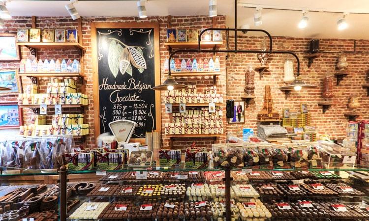 chocolate belga em bruges na belgica