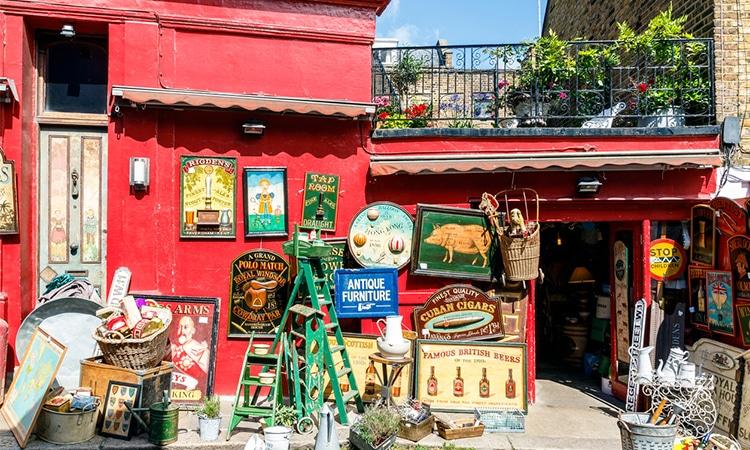 mercado portobello em notting hill em londres