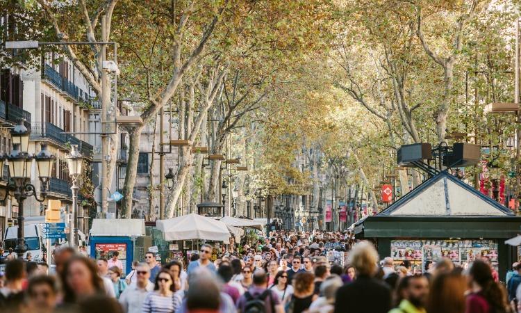 Las Ramblas Barcelona pessoas