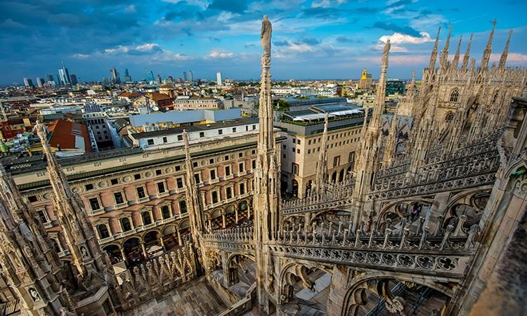 visão aeréa Duomo de Milão