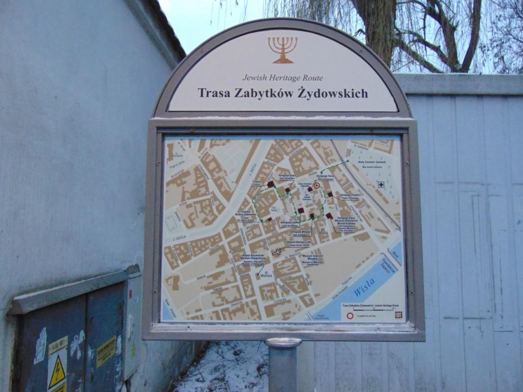 Mapa do bairro judaico de Cracóvia
