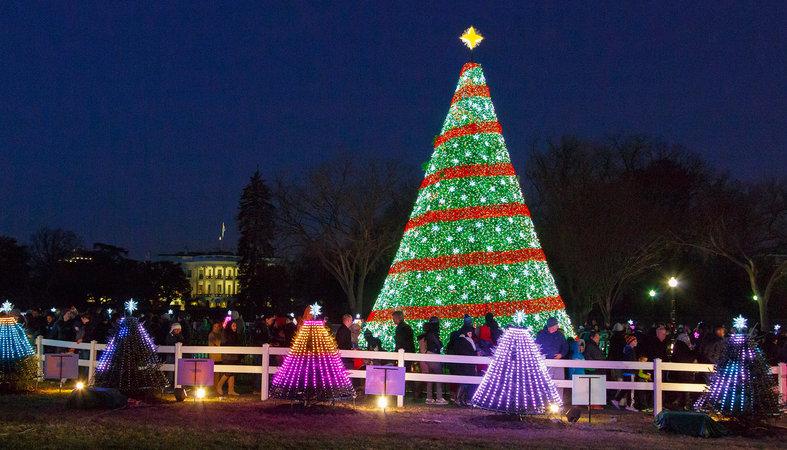 Natal Nacional com árvores na Casa Branca