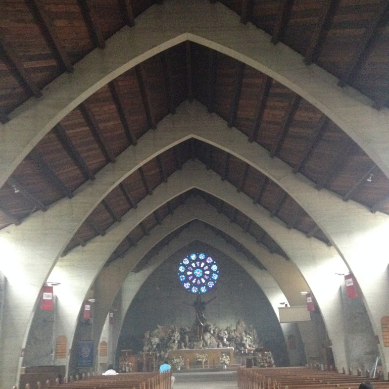 The Church's aisle and altar - Sagada