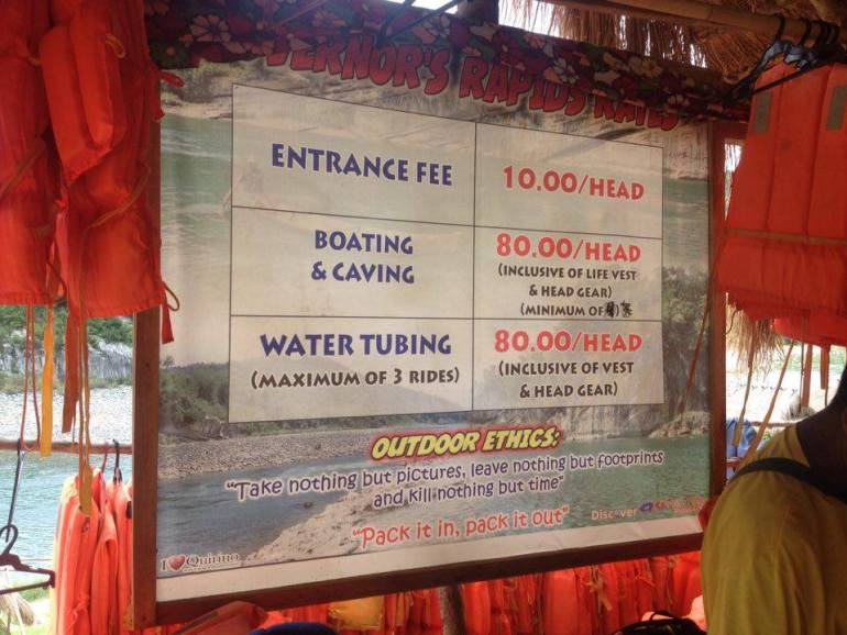 Tour rates at the Governor's Rapids - Quirino